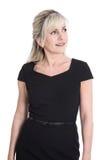 Портрет удовлетворенной изолированной зрелой бизнес-леди стоковое изображение