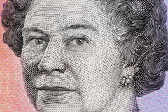 Портрет ферзя Элизабета II - closeu долларовой банкноты австралийца 5 Стоковое Изображение