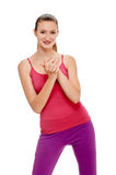 Портрет фитнеса женщины тренировка с руками Стоковое Изображение RF
