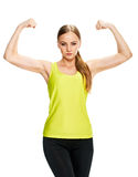 Портрет фитнеса спорта женщины показывать ее бицепс Стоковая Фотография RF