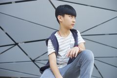 Портрет холодного азиатского ребенк представляя outdoors Стоковые Изображения RF