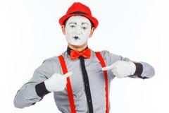 Портрет человека, актер, пантомима, смотрящ камеру и s Стоковое Изображение RF