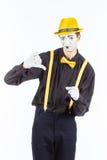 Портрет человека, актер, пантомима, смотрящ камеру и showi Стоковые Фотографии RF