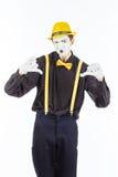 Портрет человека, актер, пантомима, смотрящ камеру и showi Стоковое Фото