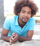 портрет человека пляжа афроамериканца Стоковое Изображение RF