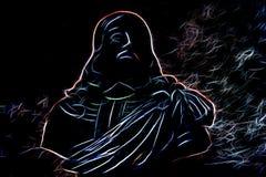 Портрет человека сделанного абстрактный накалять выравнивается в темноте Стоковые Изображения RF