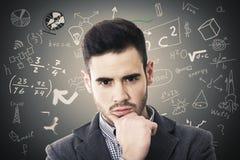 Портрет человека с формулами Стоковое фото RF
