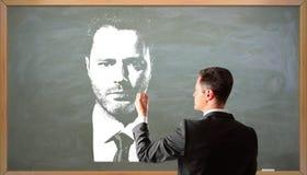 Портрет чертежа бизнесмена Стоковая Фотография RF