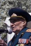 Портрет человека ветерана войны Он делает речь Стоковые Изображения