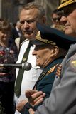Портрет человека ветерана войны Он делает речь Стоковая Фотография RF