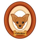 Портрет чихуахуа, бирка любимчика косточки собаки, деревянная рамка Стоковое Изображение