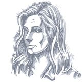Портрет чувствительной сомневаясь женщины с морщинками на ее forehea иллюстрация штока