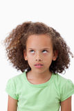 Портрет шаловливой девушки смотря вверх Стоковое фото RF