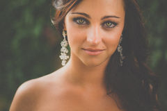 Портрет шикарной женщины брюнет Стоковая Фотография RF