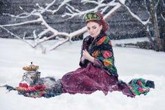 Портрет шикарной молодой женщины в русском платье стиля на сильном заморозке в дне зимы снежном с яблоками и самоваром Стоковые Фотографии RF