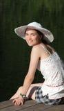 портрет шлема девушки стоковая фотография
