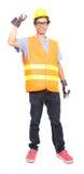 Портрет шляпы куртки безопасности азиатского человека работника нося трудной и стоковые изображения rf