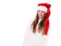 Портрет шляпы хелпера santa женщины Стоковое Фото