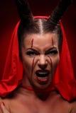 Портрет дьявола с рожками фантазия искусство Стоковое Изображение RF