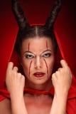 Портрет дьявола с рожками фантазия искусство Стоковые Изображения RF