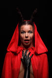 Портрет дьявола с рожками фантазия искусство Стоковые Фото