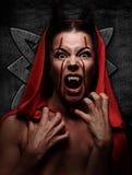 Портрет дьявола с рожками фантазия искусство Стоковое Изображение