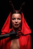 Портрет дьявола с рожками фантазия проект путя клиппирования искусства изолированный дьяволом halloween Стоковая Фотография