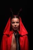 Портрет дьявола с рожками фантазия проект путя клиппирования искусства изолированный дьяволом halloween Стоковое Изображение RF