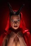 Портрет дьявола с рожками фантазия проект путя клиппирования искусства изолированный дьяволом halloween Стоковое Фото