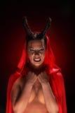 Портрет дьявола с рожками фантазия проект путя клиппирования искусства изолированный дьяволом halloween Стоковые Изображения