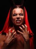 Портрет дьявола с рожками фантазия проект путя клиппирования искусства изолированный дьяволом halloween Стоковые Фото