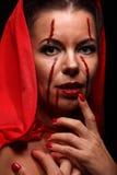 Портрет дьявола с рожками фантазия проект путя клиппирования искусства изолированный дьяволом halloween Стоковая Фотография RF