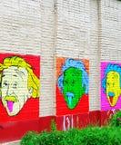 Портрет Эйнштейна на стене Стоковая Фотография RF