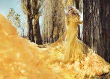 Портрет элегантной женщины идя в осенний парк стоковое фото rf