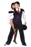 портрет элегантности танцоров представляя детенышей танго Стоковая Фотография