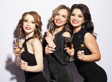 Портрет элегантных молодых женщин с стеклами шампанского на торжестве Стоковая Фотография