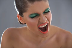 Портрет эмоции красоты девушки Стоковое Изображение RF