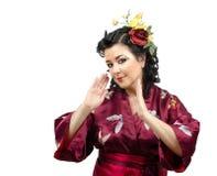 Портрет эмоциональной женщины кимоно Стоковая Фотография