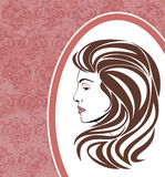 Портрет элегантной женщины в орнаментальной рамке иллюстрация штока