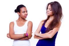 Портрет 2 различных девушок национальностей Стоковая Фотография