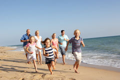 портрет 3 поколения семьи пляжа Стоковые Изображения RF