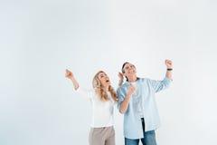 Портрет excited стильных зрелых человека и женщины Стоковые Изображения RF