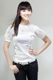 портрет gal красивейшей китайской милой двери следующий Стоковое Фото