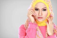 Портрет hijab красивой женщины нося стоковые фотографии rf