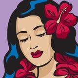 портрет hula девушки гаваиский Иллюстрация вектора