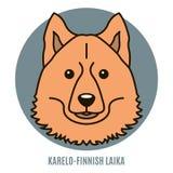 Портрет Karelo-финского Laika Иллюстрация вектора в стиле o Стоковые Изображения RF