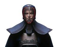 Портрет kendoka, изолированный на белизне Стоковая Фотография
