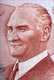 Портрет Mustafa Kemal Ataturk от турецких денег Стоковая Фотография RF