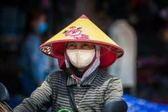 Портрет o молодая въетнамская девушка нося традиционную коническую шляпу стоковое изображение rf