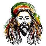 Портрет rastaman Тема ямайки Дизайн концепции регги Татуировка ART Картина Нарисованное рукой искусство стиля grunge иллюстрация штока